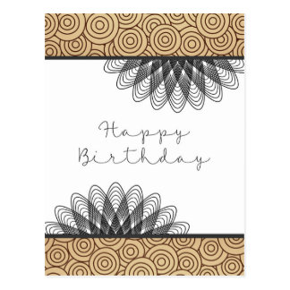 Swirls and Whirls Happy Birthday Postcard