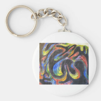 Swirls Basic Round Button Key Ring