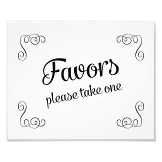 Swirls Favors Please Take One Wedding Sign