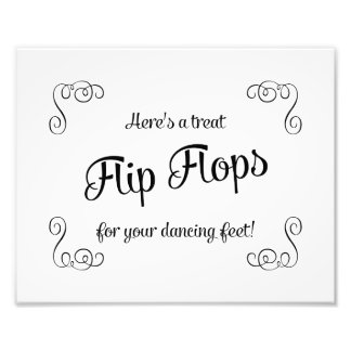 Swirls Flip Flops Treat Dancing Feet Wedding Sign