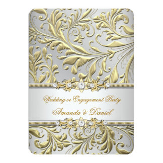 Swirls Floral Gold Silver Wedding or Engagement Invitation