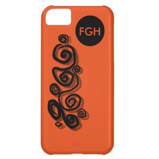 Swirls graphic, monogram black, b/orange phone/c iPhone 5C case