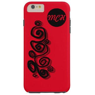 Swirls graphic, monogram black, bright red phone tough iPhone 6 plus case