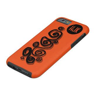 Swirls graphic shadows black orange B/G monogram Tough iPhone 6 Case