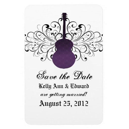 Swirls Guitar Save the Date Magnet, Purple