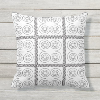 Swirls in Black and White Outdoor Cushion