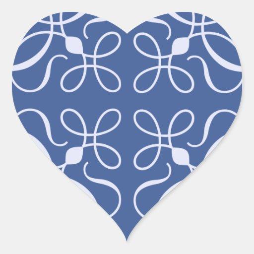 Swirls in Blue Heart Sticker