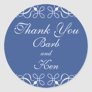 Swirls in Blue Thank You Sticker