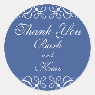 Swirls in Blue Thank You Sticker