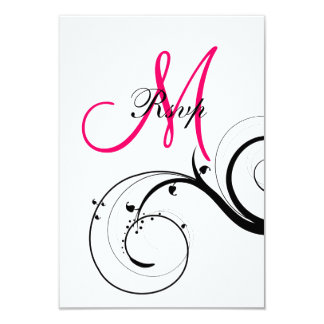 Swirls Initial Wedding RSVP for Square Card 9 Cm X 13 Cm Invitation Card
