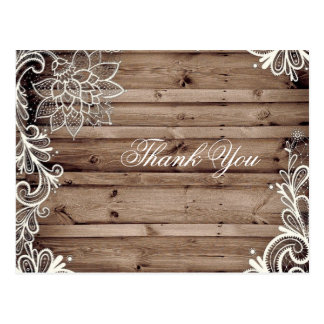 swirls lace barn wood country wedding thank you post cards