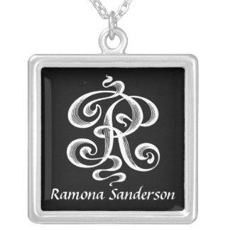 Swirls Letter R Monogram Initial Personalized Jewelry