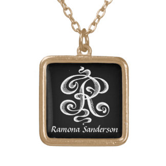 Swirls Letter R Monogram Initial Personalized Square Pendant Necklace