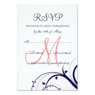 Swirls Navy Blue Coral Pink Wedding RSVP Card 9 Cm X 13 Cm Invitation Card