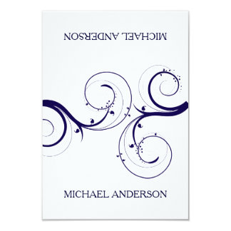 Swirls Navy Blue Wedding Place Card 9 Cm X 13 Cm Invitation Card