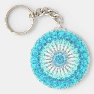 Swirls Ocean Blues Kaleidoscope Basic Round Button Keychain