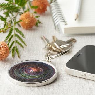 """SWIRLS OF DARK COLOR"" DIGITAL PHOTO MANIPULATION Silver-Colored ROUND KEY RING"