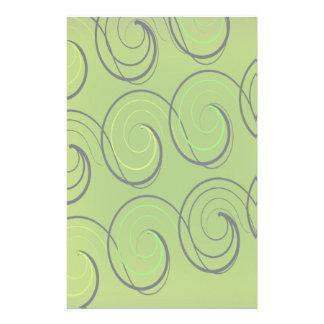 Swirls On Green Personalized Stationery