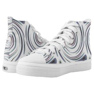 Swirls on White High Tops