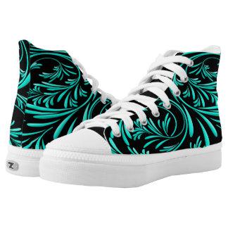 Swirls Pattern High Top Zipz Custom Shoe Printed Shoes