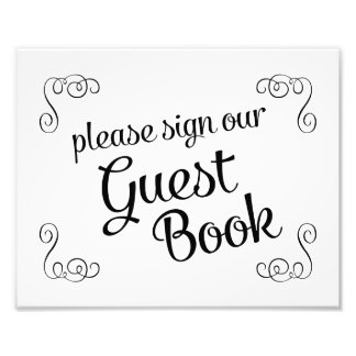 Swirls Please Sign Our Guest Book Wedding Sign Photo