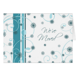 Swirls & Snow New Address Christmas Card