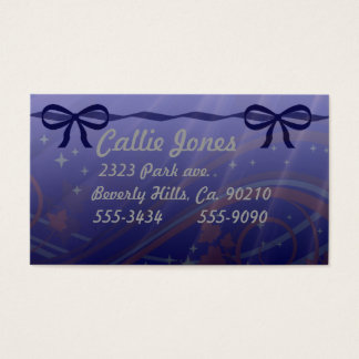 Swirls Stars and Blue Bows Business Card