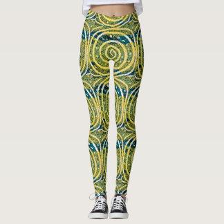 Swirls. Yellow, white, and blue Leggings