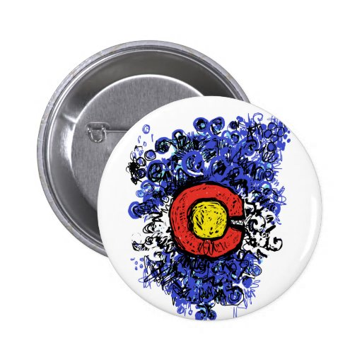 Swirly Abstract Colorado Flag Pinback Button
