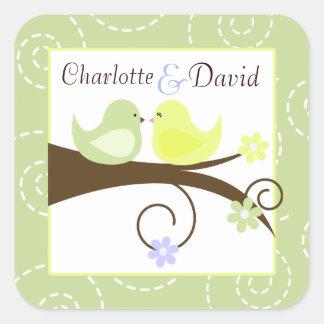 Swirly Bird Green Wedding Favour Sticker (6)