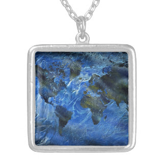 Swirly Blue Arylic World Map Silver Plated Necklace