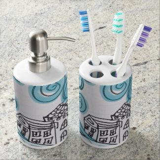 Swirly Blue Bathroom Set