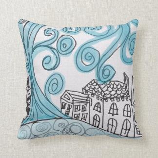 Swirly Blue Cushion