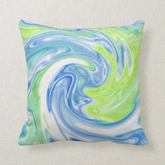 Swirly Blue Green and white Silk Abstract Pillow