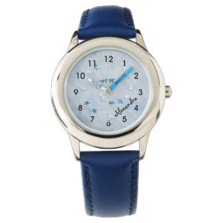 Swirly Blue Stars Girl's Watch