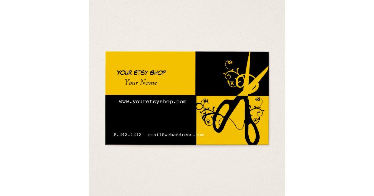 Swirly Bold Yellow Black Craft Artist Beautician Business Card ...