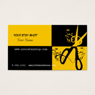 Swirly Bright Yellow Black Craft Artist Beautician Business Card