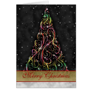 Swirly Christmas Tree Starry Night Greeting Card