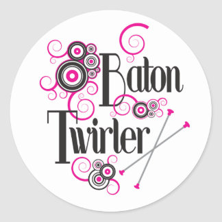 Swirly Circle Baton Twirler Classic Round Sticker