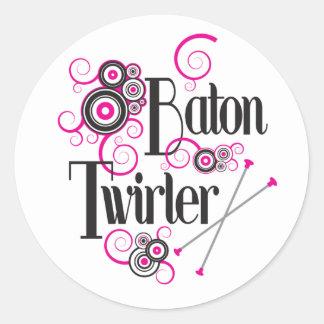 Swirly Circle Baton Twirler Round Sticker