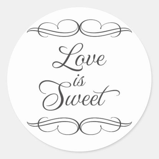 Swirly classic Love is Sweet Candy Buffet Sticker