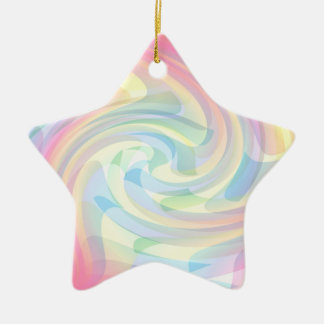 Swirly Colorful Pink Blue Yellow Artistic Pattern Double-Sided Star Ceramic Christmas Ornament