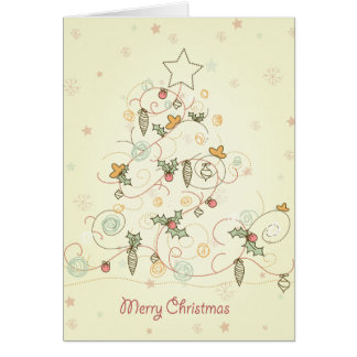 Swirly Doodles Christmas Tree Greeting Card