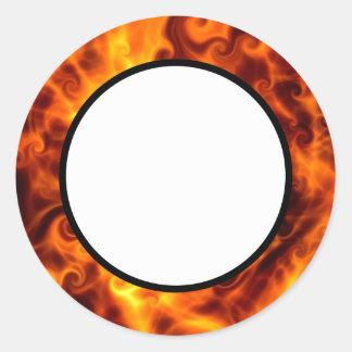 Swirly Flames Round Sticker