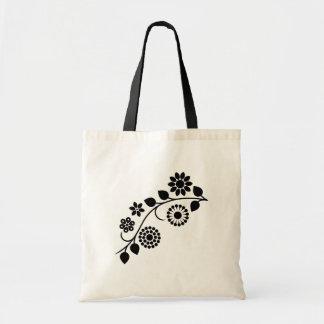 Swirly floral black white vine tote bag