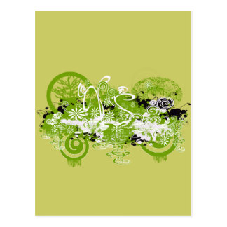 Swirly Flower Design Postcard