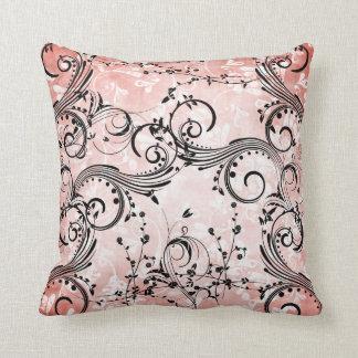 Swirly Flower Vines Throw Pillow