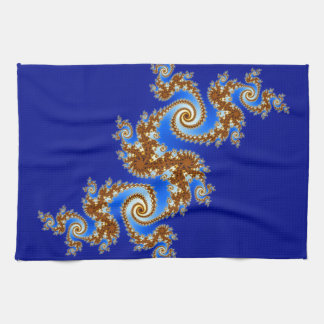 Swirly Fractal Blue Brown Tea Towel