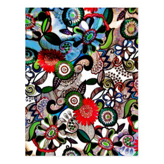 Swirly Funky Multicolored Doodles Postcard