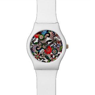 Swirly Funky Multicolored Doodles Wrist Watch